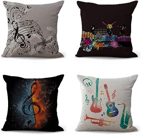 4 Pack Throw Pillow Case, Funda De Cojín De Algodón Y Lino Símbolo De Música Creativa Almohadón Funda De Cojín Cuadrado Cubierto Decorativo Almohada Cubre A La Decoración Del Hogar 45 X