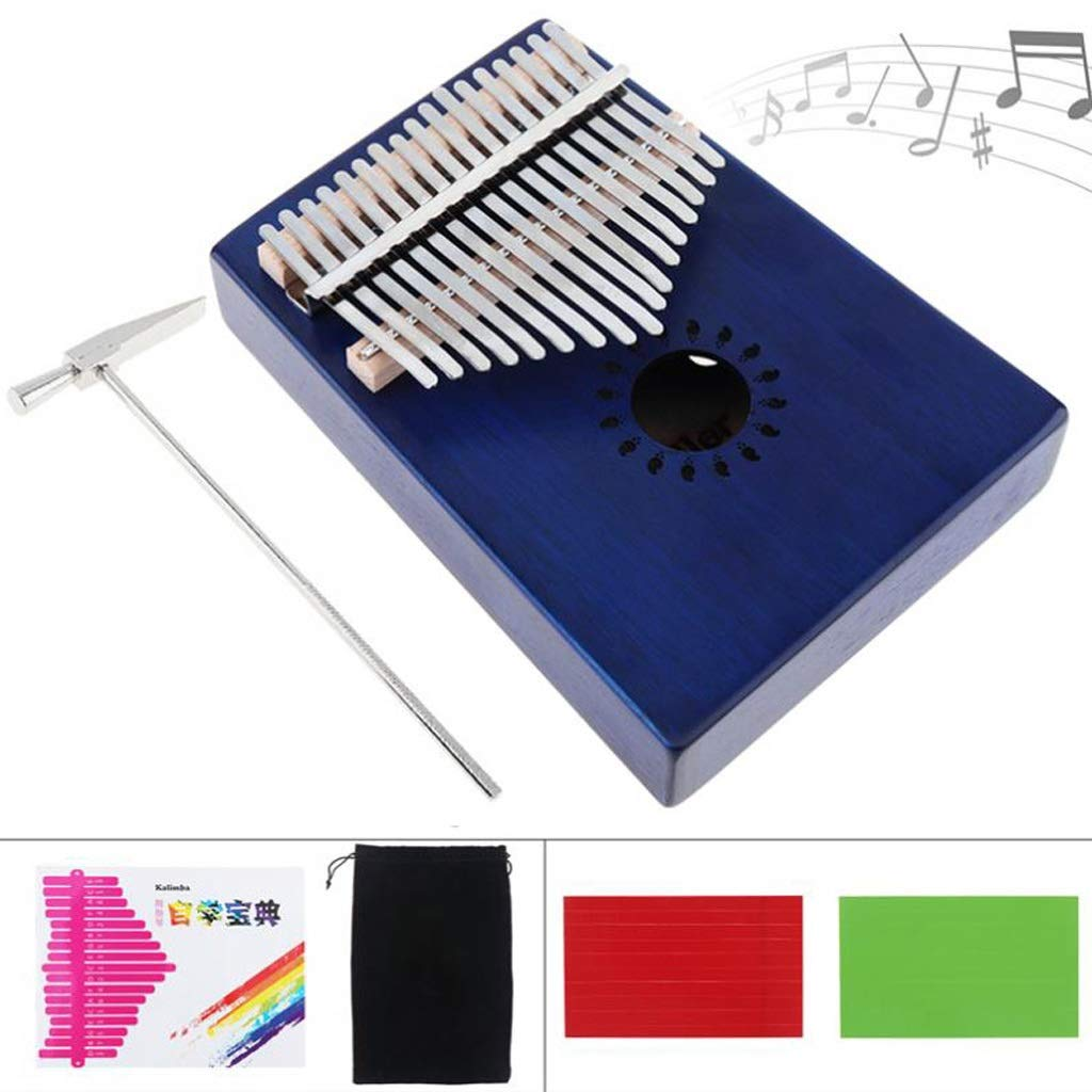 Zyj 17-Key Kalimba Blue Finger Piano Veneer Mahogany Thumb Piano Complete Accessories Adult Student Beginner Guitarist