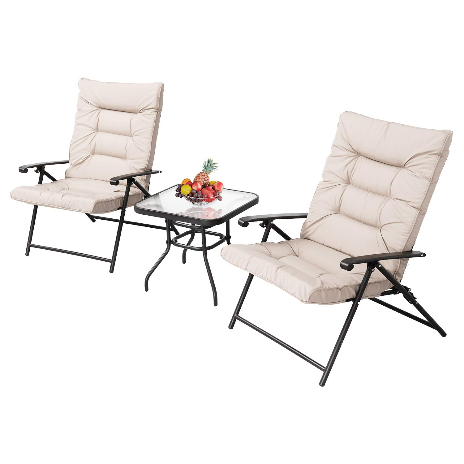 SUNCROWN Patio Padded Folding 3 Pieces Chair Set Adjustable Reclining Outdoor Furniture Metal Sling Chair w/Coffee Table