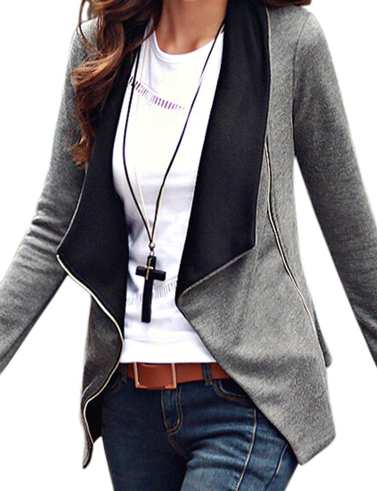 LookbookStore Womens Black Grey Long Sleeves Draped Asymmetric Zipper Blazers Top US12,Grey