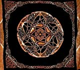 India Arts Celtic Wheel of Life Heavy Cotton Bedspread 108'' x 84'' Full-Queen Amber
