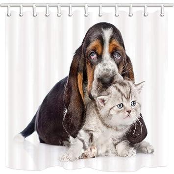CDHBH Cortina de ducha para mascotas con diseño de perro por lindo caseta y gato blanco ...