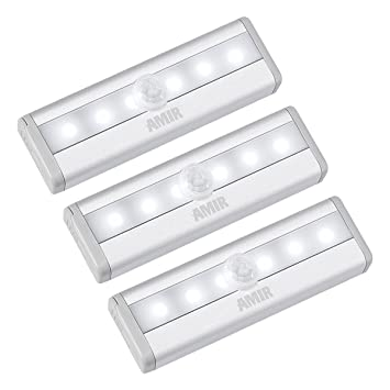 AMIR Sensor de Movimiento Armario Luces, (6 LED, 3 Pack) Luces de