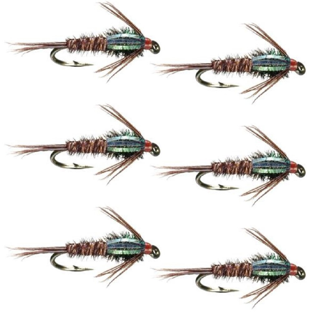 The Fly Fishing Place Bead Head Flash Back Pheasant Tail Nymph Fly Fishing Flies - Trout and Bass Wet Fly Pattern - 6 Flies Hook Size 16 by The Fly Fishing Place