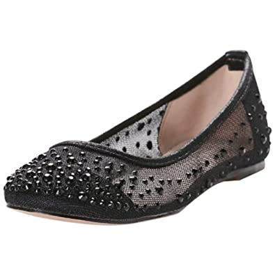a2ae78371fd David s Bridal Mesh Ballet Flats Scattered Crystals Style BABA-31 ...