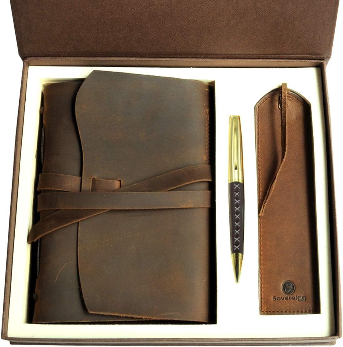 Juego de regalo de diario de cuero + marcador de cuero antiguo hecho a mano, A5 cuaderno de escritura rústico con caja para hombres y mujeres, diario de viaje ideal para escribir en 20x15cm