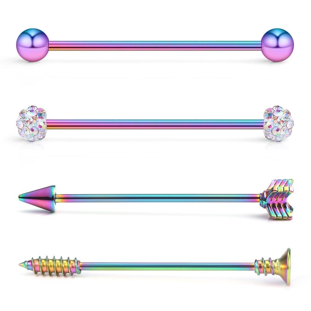Ruifan 4PCS 14 Gauge Ball Arrow Screw Crystal Ball Industrial Barbell Cartilage Earring Body Piercing Jewelry 1 1/2Inch (38mm) - Rainbow
