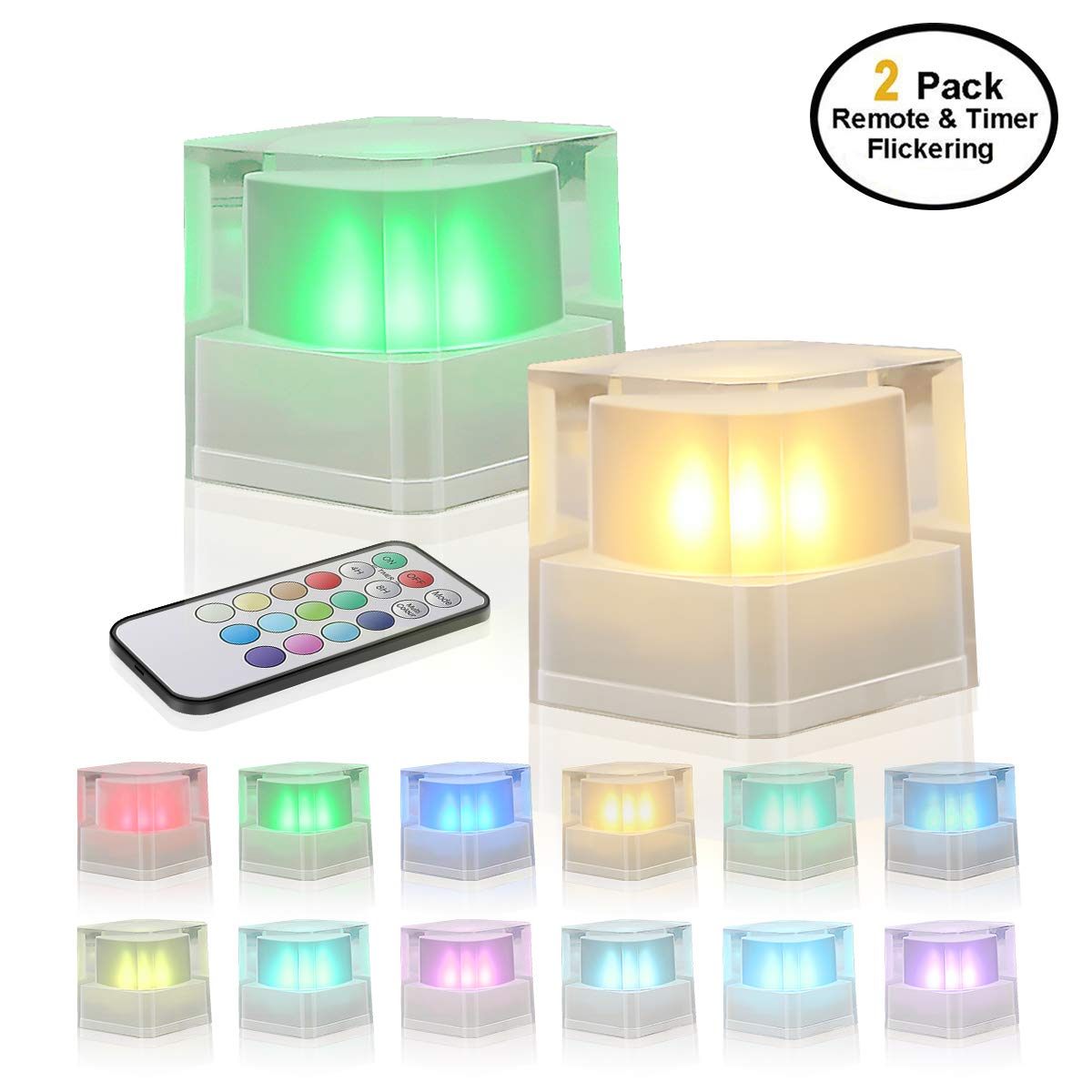 Night Lights with Timer and Remote Decorative Lights for Bedroom Home Decor 2 Packs GameXcel Battery Operated Crystal Lights Color Changing Flamess Candles LED Cube Lights Flickering Mood Lamp