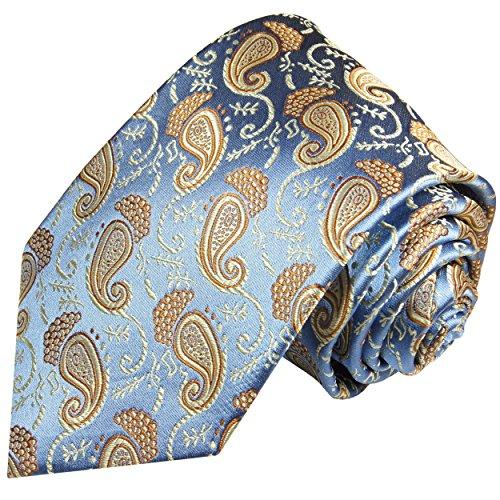 Cravate homme bleu or paisley 100% soie