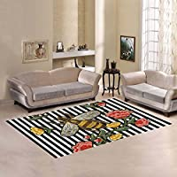 Unique Debora Custom Multicolor Rectangle Area Rug Floor Rug Carpets Home Decorate Floor with Bee And Flowers