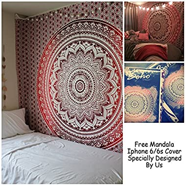 Exclusive Branded Ombre Tapestry By  The Boho Street , Indian Mandala Wall Art, Hippie Wall Hanging, Bohemian Bedspread