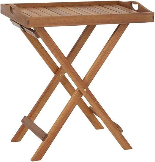 Greemotion steh vassoio Borkum Acacia dimensioni: ca pieghevole Tavolo da giardino in legno di acacia FSC/® di alta qualit/à Tavolino con Vassoio Amovibile 50/x 37/x 70/cm