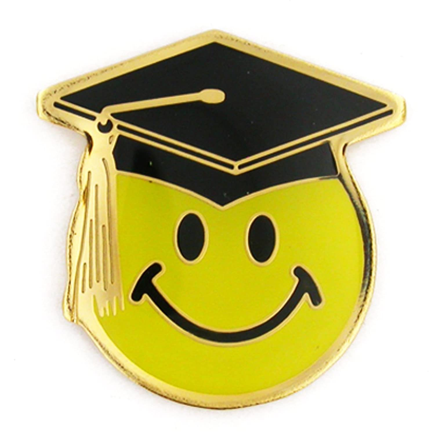 hot sell PinMart's Smiley Face with Graduation Cap School Lapel Pin free shipping