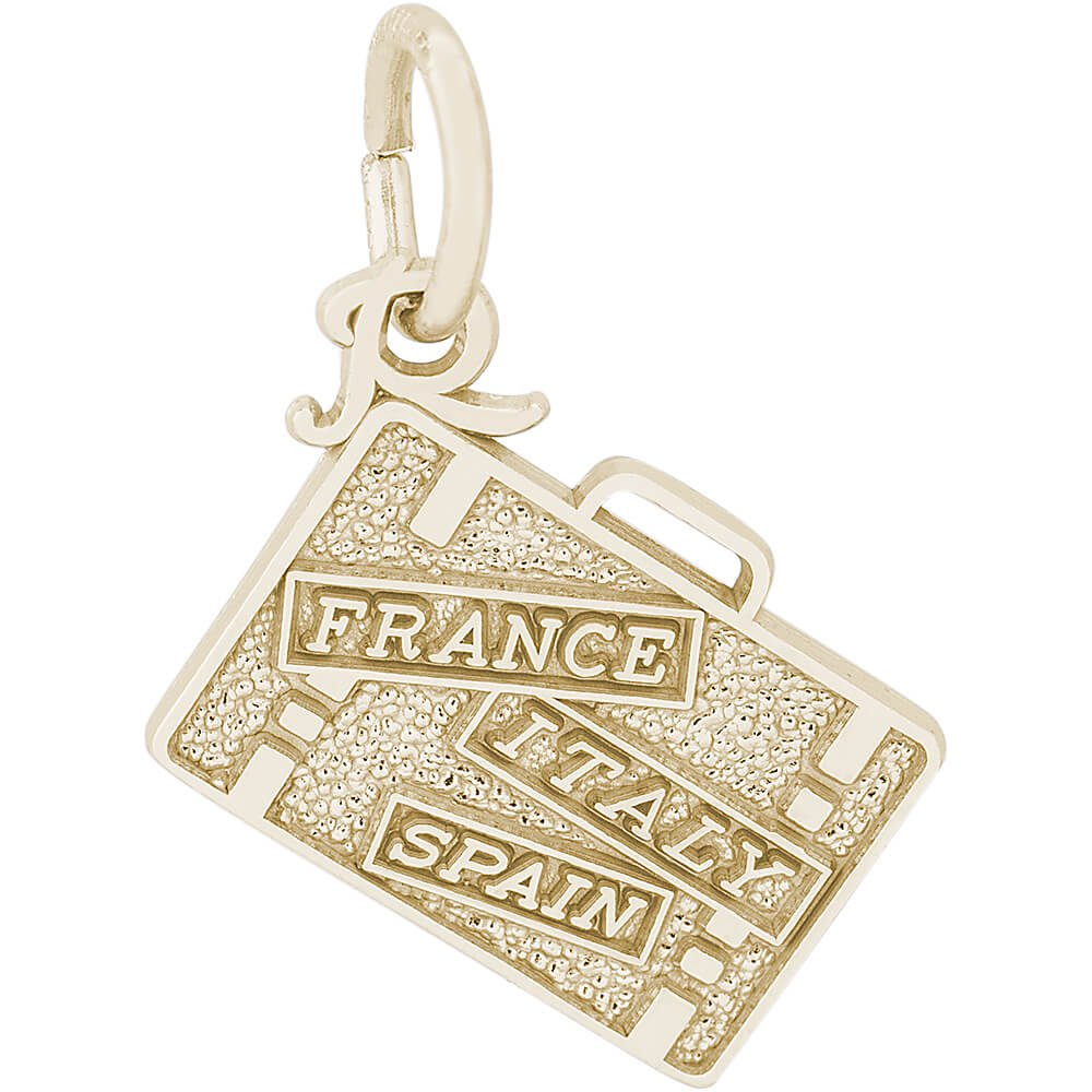 Rembrandt Charms Two-Tone Sterling Silver France Italy Spain Suitcase Charm on a Sterling Silver 16 18 or 20 inch Rope Box or Curb Chain Necklace