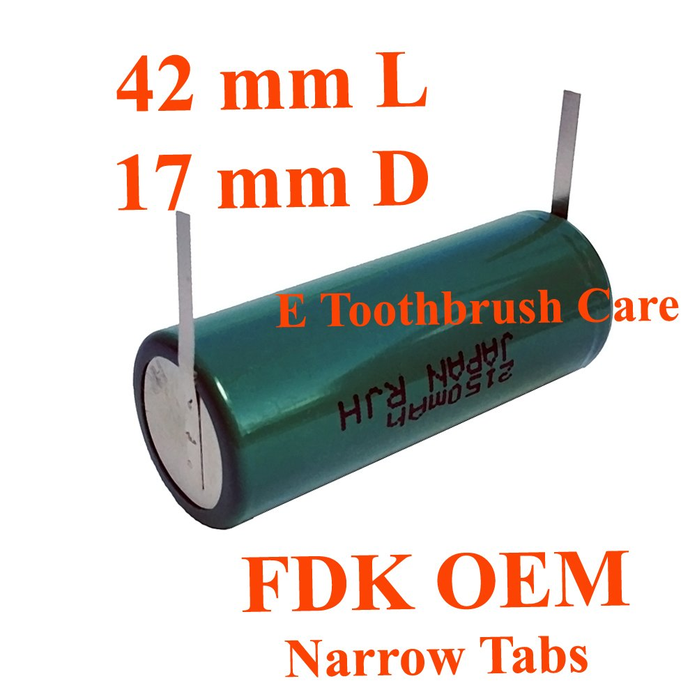 FDK OEM NiMH Replacement Battery Compatible with Braun Oral-b Triumph Professional Care Toothbrush with Narrow Tabs, (42L x 17D mm, 2150 mAh)