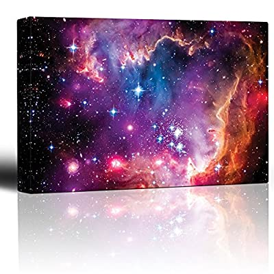 Vibrant Pink and Purple Outerspace with Galaxies and Stars - Canvas Art Home Art - 12x18 inches