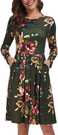 Kranda Womens 3/4 Long Sleeve V Neck Vintage Floral Print Faux Wrap Maxi Long Party Dress with Belt