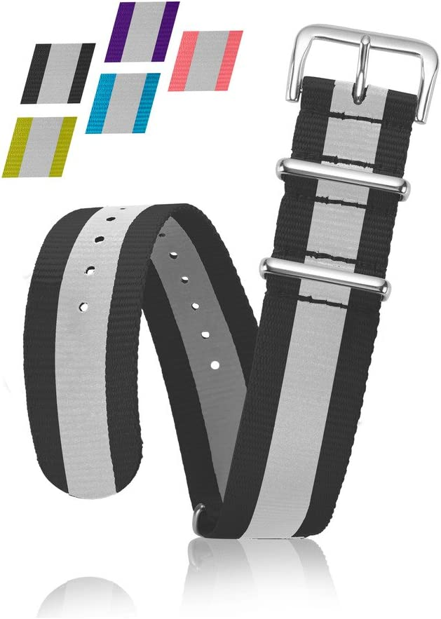 Reflective Bracelet Strap - Replacement Watchband or Wrist Band - Ballistic Nylon NATO Strap with Removable Stainless Steel Buckle - By United Watchbands