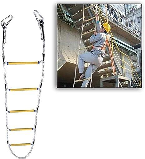 ZUOAO Escaleras de Escape de Emergencia, Escalera de Emergencia Trabajos aéreos con un Gancho de Escape Escalera de ingeniería Escalera de Cuerda de Escalada Reutilizable para niños y Adultos,25M: Amazon.es: Hogar