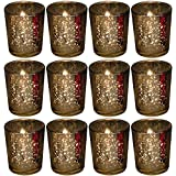 Biedermann & Sons Rustic Glass Votive Holder, Gold, Set of 12