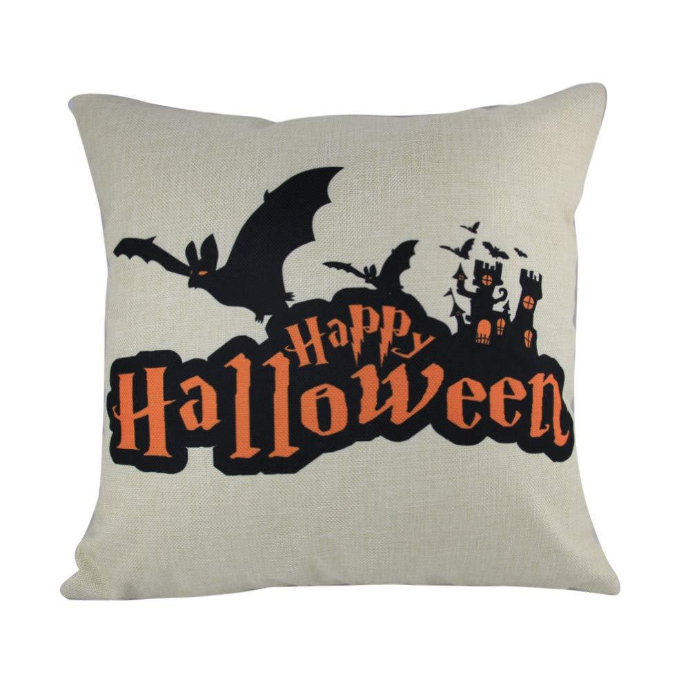 Hongxin 'Happy Halloween' Letter Pillow Cases,1PC 45cm×45cm Cotton Linen Bat Ghosts Cushion Cover Home Decor (A, 45cm×45cm)
