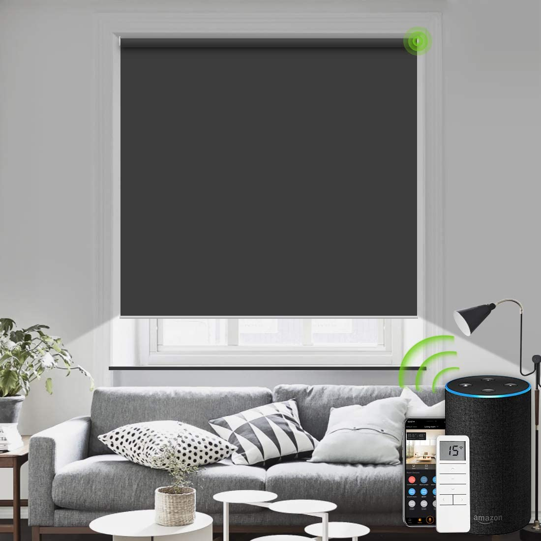 Motorized Blinds Remote Control Window Roller Shade Wireless Rechargeable 100 Blackout Window Shades for Office and Home Dark Grey