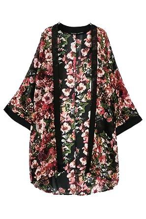 Hiroo Mujer Chaqueta de Kimono de estampado floral Chal de gasa Camisetas de manga larga Túnica