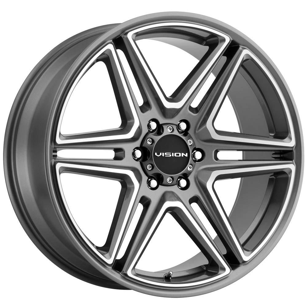 8mm Gunmetal//Machined Wheel Rim 22 Inch Vision 476 Wedge 22x9.5 5x5.5