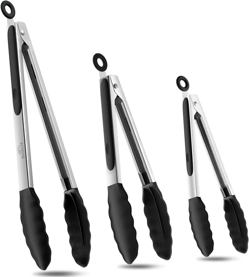 Bnlcd Kitchen Tongs, Premium Stainless Steel Locking Cooking Tongs with Silicone Tips, Non-Slip Food Tongs for Cooking, Heavy Duty, Non-Stick, 480℉, Set of 3-7