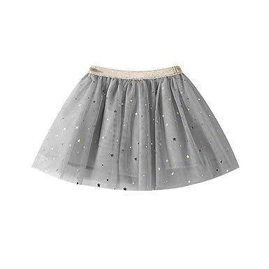 fd571fdb62 WUAI Baby Girls Rainbow Sparkle Tutu Skirt Super Soft Glitter Sparkle  Elastic Puffy Tulle Dance Dress