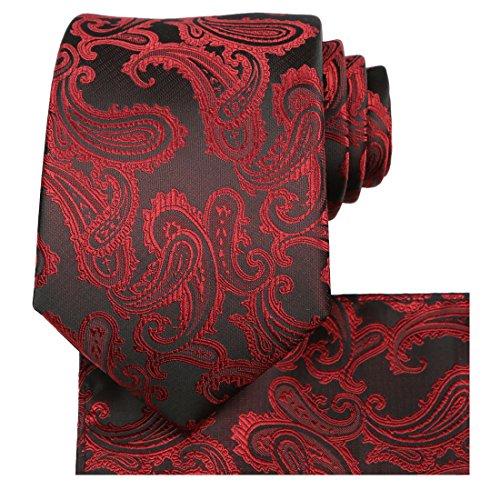 KissTies Burgundy Red Tie Set: Paisley Necktie + Pocket Square ()