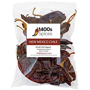 1lb New Mexico Dried Whole Chile Peppers Food Service Size, Natural Dehydrated Chili Pods for Authentic Mexican Food.