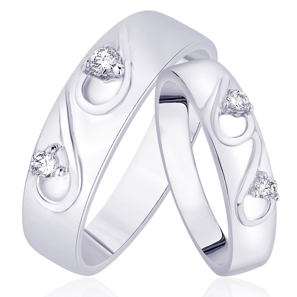 Taraash 925 Sterling Silver CZ Beautiful Couple Ring for Couples