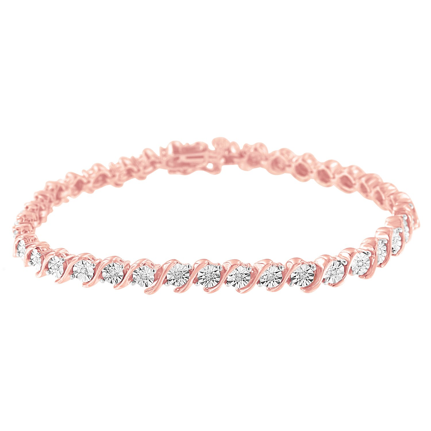 2 Micron 14K Rose Gold Plated Sterling Silver Diamond S-Link Tennis Bracelet (.10 cttw, I-J Color, I2-I3 Clarity)
