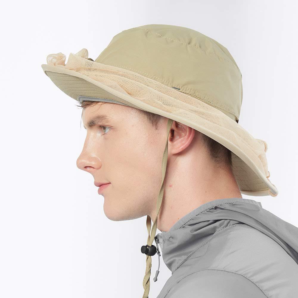 adorence Chapeau de P/êche Anti-UV avec Masque-Filet et Anti-Moustique en Plein Air