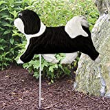 Havanese Outdoor Garden Dog Sign Hand Painted Figure Black/White For Sale
