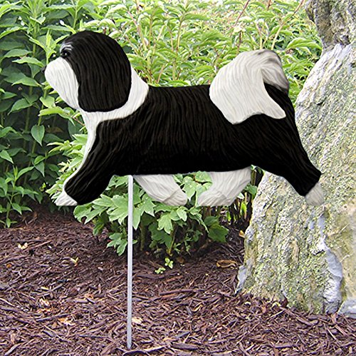 Havanese Outdoor Garden Dog Sign Hand Painted Figure Black/White