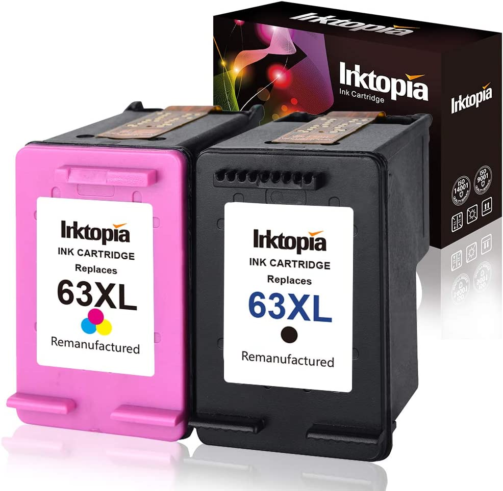 Inktopia Remanufactured Ink Cartridge Replacement for HP 63XL 63 XL Black and Color use with HP Officejet 5255 5258 3830 3833 4650 Envy 4520 4516 DeskJet 1112 2132 3633 3634 Printer