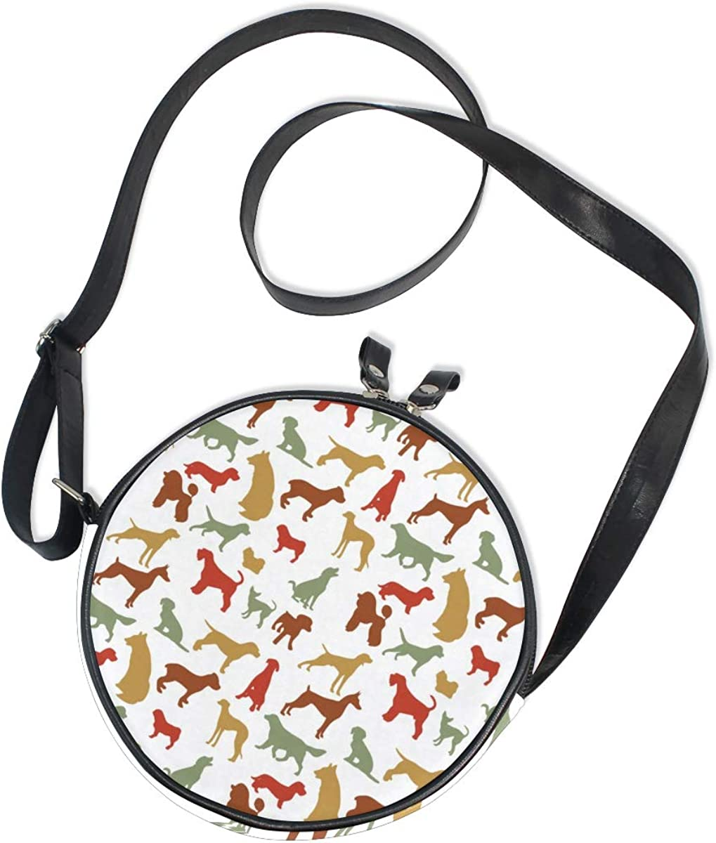 KEAKIA Dog Breed Round Crossbody Bag Shoulder Sling Bag Handbag Purse Satchel Shoulder Bag for Kids Women