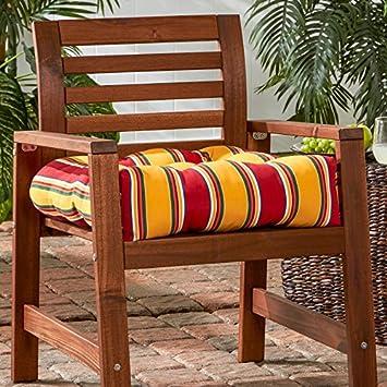 Greendale Home Fashions 20-Inch Outdoor Chair Cushion, Carnival Stripe