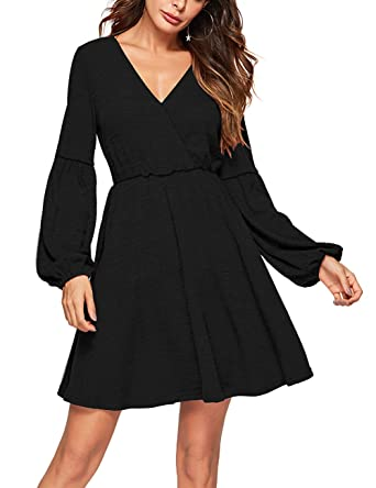 08548aaf4877f Lin's Womens Long Sleeve Casual Faux Swing Flare Skater A Line Dress Black