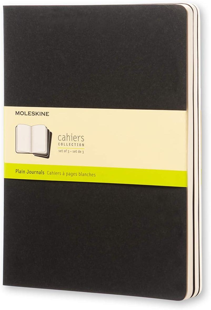 Moleskine - Cahier Journal, Set de 3 Cuadernos con Páginas Blancas, Cubierta de Cartón, Tamaño Extra Grande 19 x 25 cm, Color Negro, 120 Páginas
