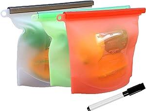 Reusable Silicone Food Storage Bag (3 Pack)   Highest Quality Leakproof Food Bag for Sandwich, Sous Vide, Snack, Lunch, Fruit, Freezer Airtight Seal, Dishwasher Safe Sandwich Bag, Ziploc