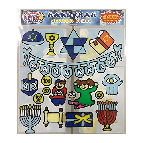 Hanukkah Gel Window and Wall Clings for Kids & Toddler Boys or Girls (18 Piece Set) - Chanukkah Holiday Clings, Menorah, Dreidel, Geld, Torah and More - Great Gift and Activity Home or Travel