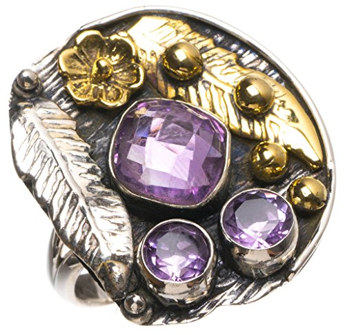 - Natural Two Tones Amethyst Handmade Vintage 925 Sterling Silver Ring, US Size 8 T5820