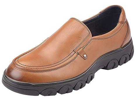 HhGold Mocasines de los Hombres Zapatos Formales Elegantes de Cuero Negro Informal (Color : Marrón