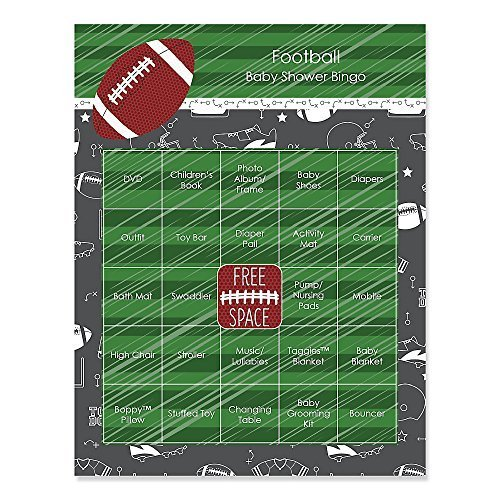 End Zone - Football - Baby Shower Game Bingo Cards - 16 Count