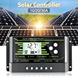 US-PopTrading Solar Charge Controller,Solar Panel Charge Controller Backlight LCD Display with Dual USB 5V Z Series 10A 20A 30A Solar Energy Auto Paremeter Adjustable