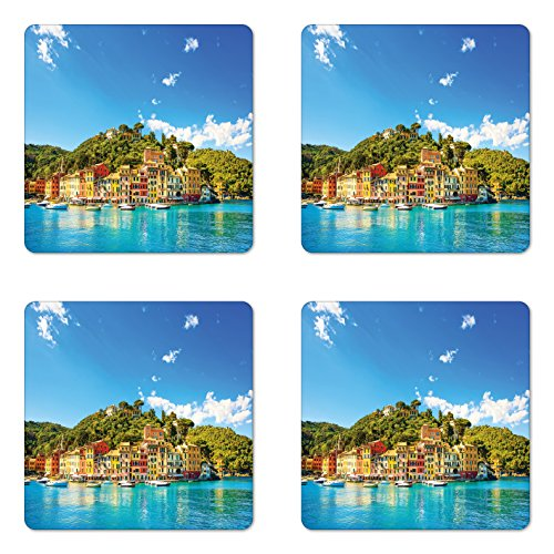 (Lunarable Village Coaster Set of 4, Mediterranean European Town by the Sea Portofino Italian Harbor Panorama View, Square Hardboard Gloss Coasters for Drinks, Blue and Green)