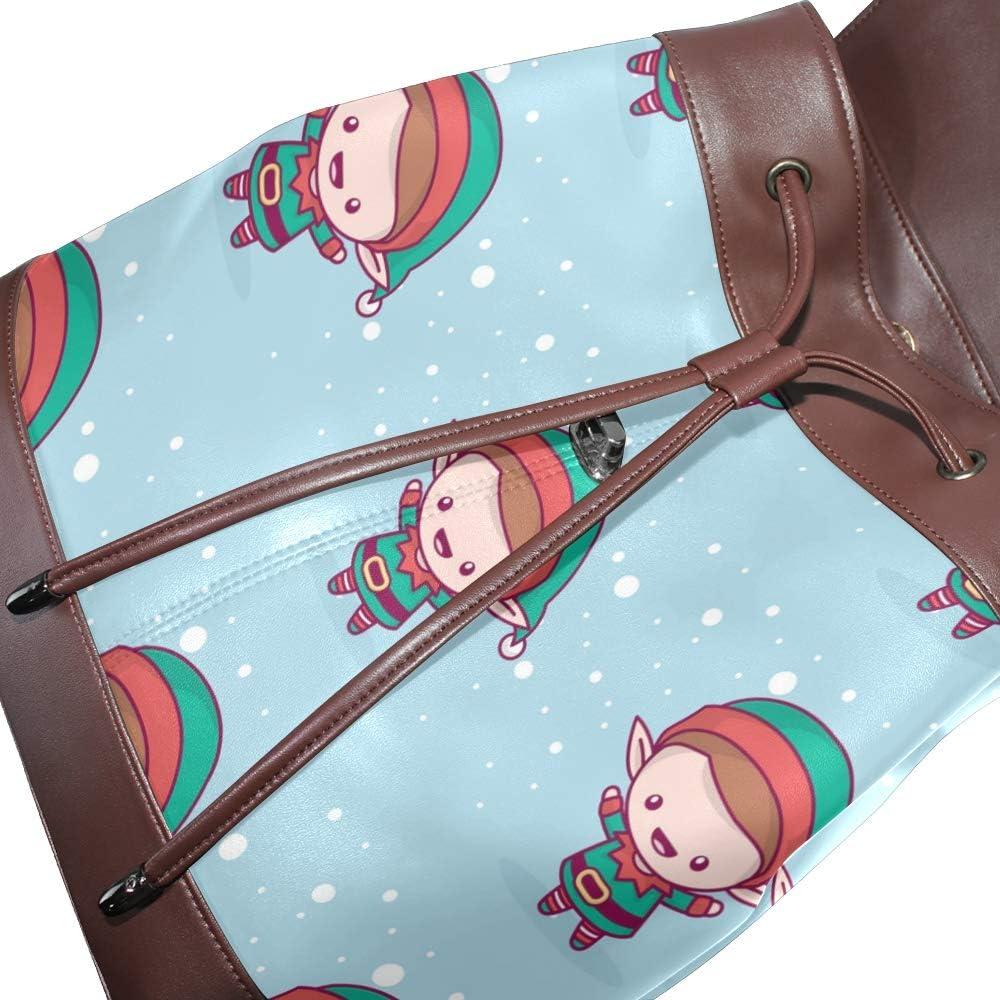 Leather Merry Christmas Kawaii Character Backpack Daypack Bag Women